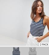 Mamalicious Maternity – Still-Trägershirts aus Bio-Baumwolle mit versc...