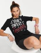 """Love Moschino – Schwarzes T-Shirt mit """"Sparkle""""-Print und Logo"""