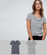 Mamalicious – 2er Pack Still-T-Shirts aus Bio-Baumwolle mit Streifenmu...
